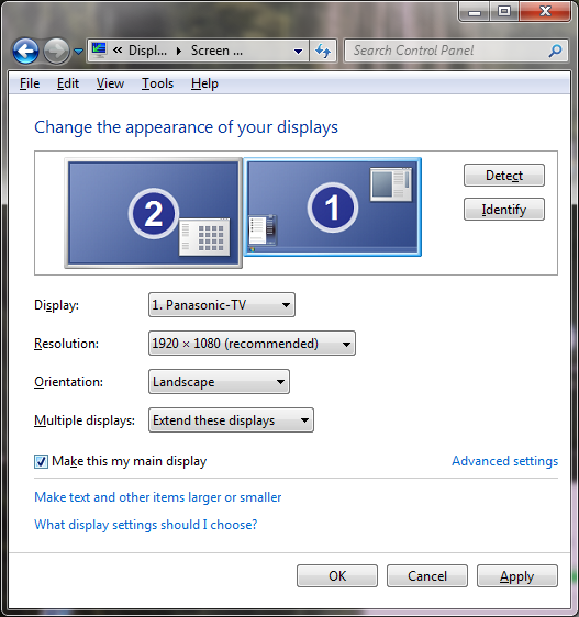 Setare TV ca primary display