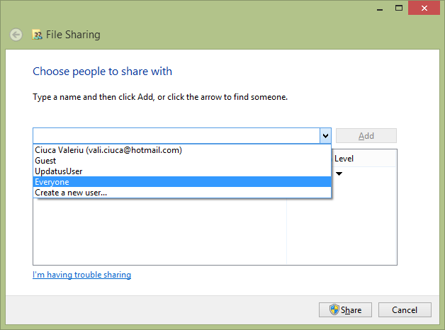 Sharing in Windows 8