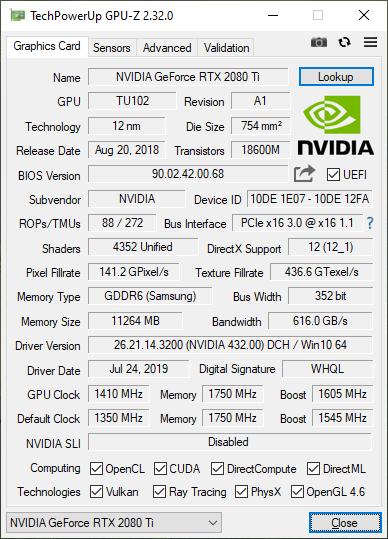 RTX 2080 Ti KFA2 One Click Overclock GPUz